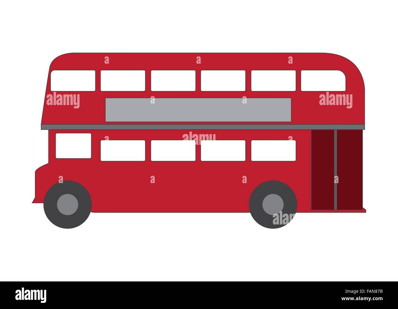 Stylized London double-deck bus on white background - Stock Image