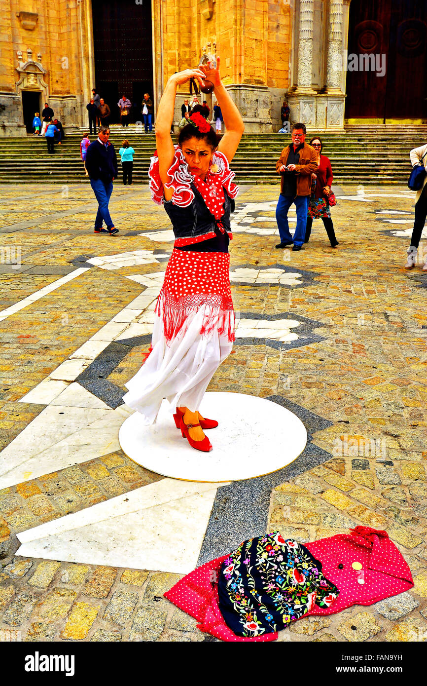 Cadiz Spain Cathedral plaza and flamenco dancer - Stock Image