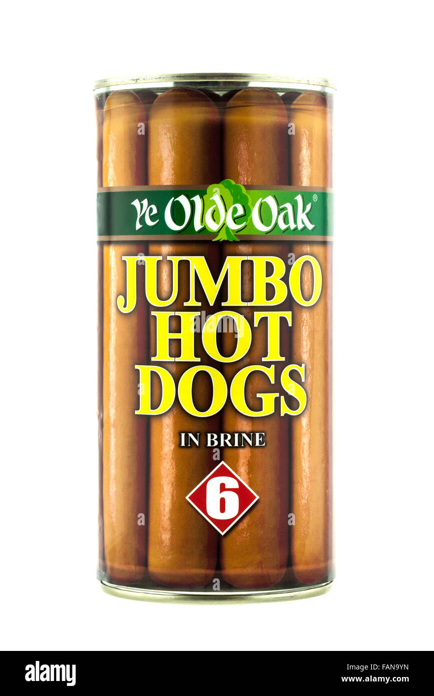 Can of 6 Ye Old Oake Jumbo Hot Dogs in Brine on a white background - Stock Image