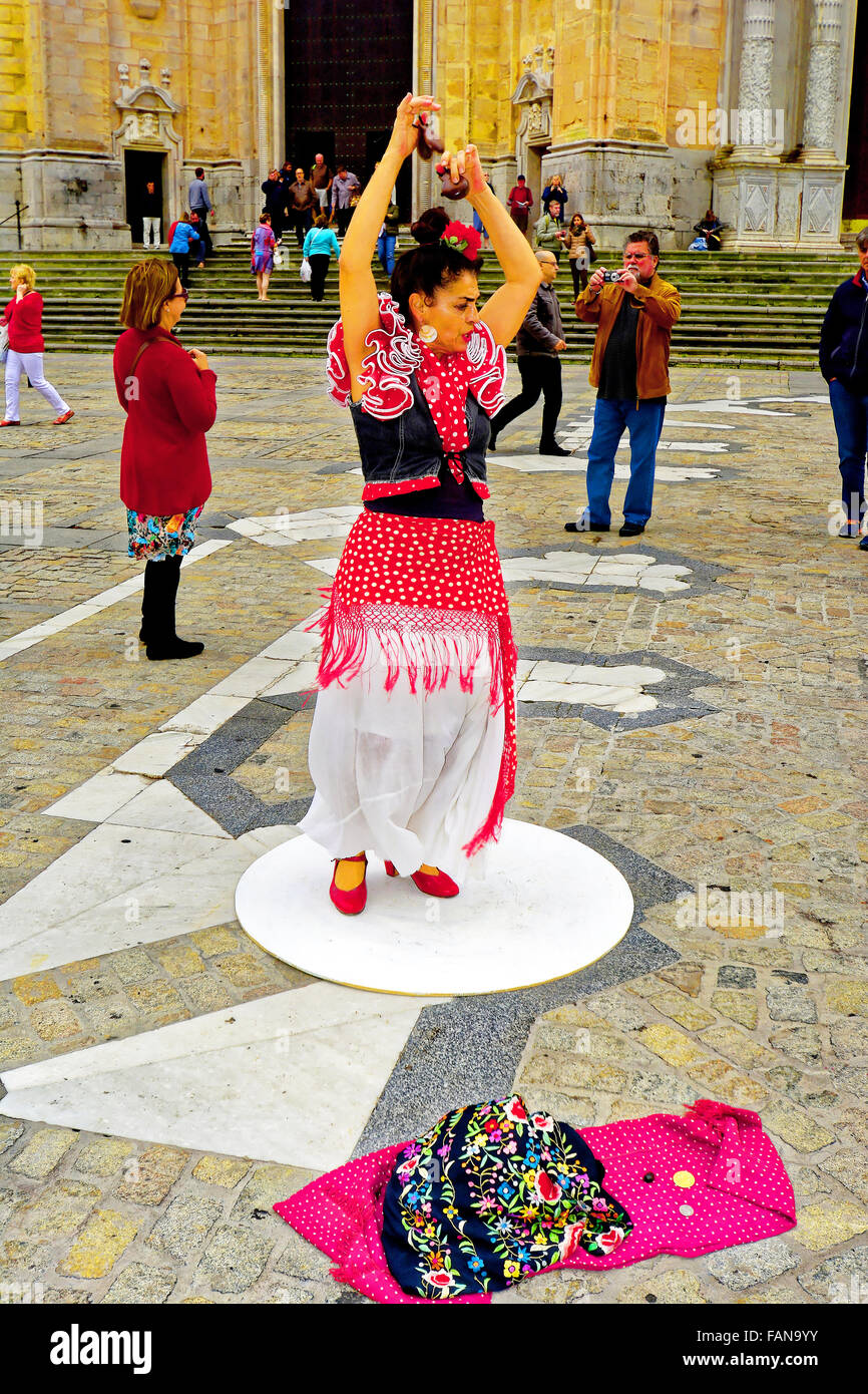 Cadiz Spain Cathedral and flamenco dancer - Stock Image