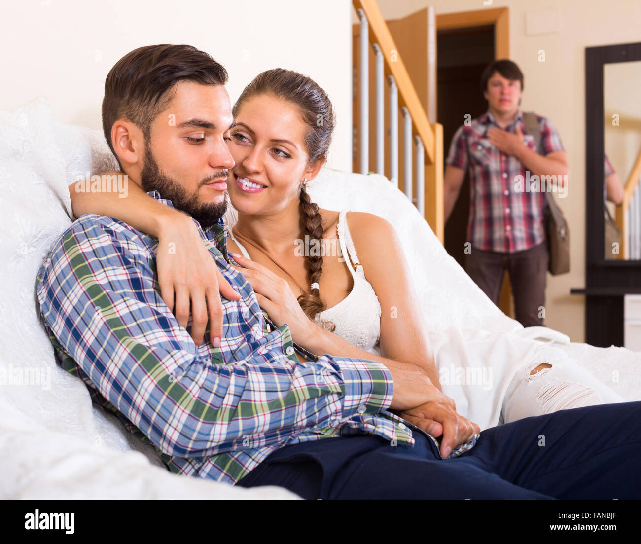 Young Adult Discovering His Cheating Attractive Girlfriend At Home