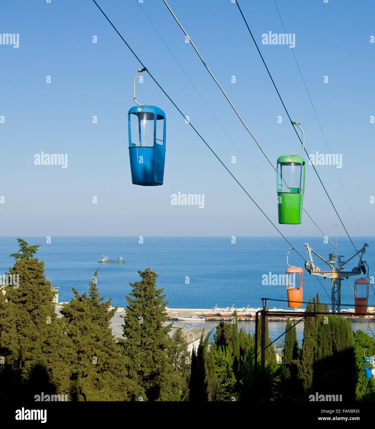 Cable-way in town Yalta, famous resort in region Crimea on Black sea ...