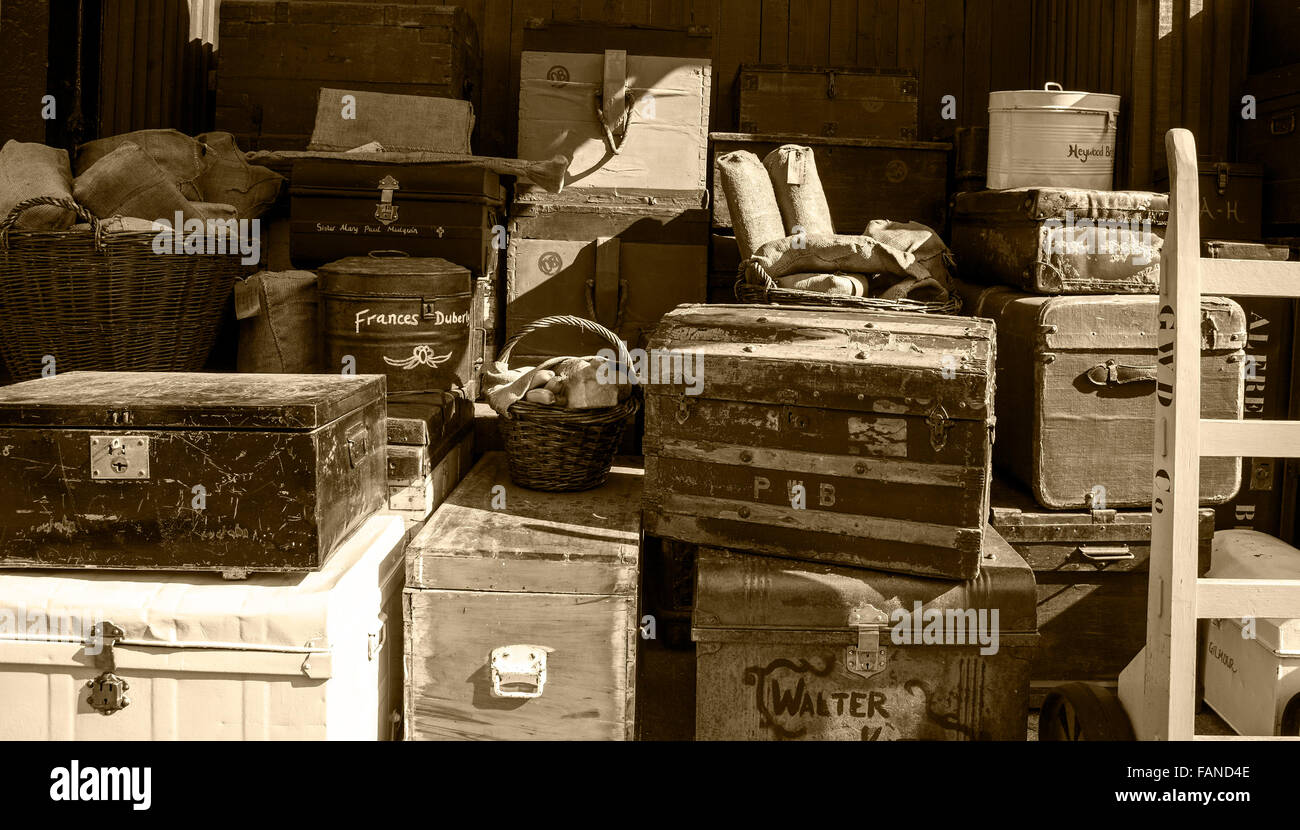 Old baggage on the dock side at Brunel's historic SS Great Britain in Bristol - Stock Image