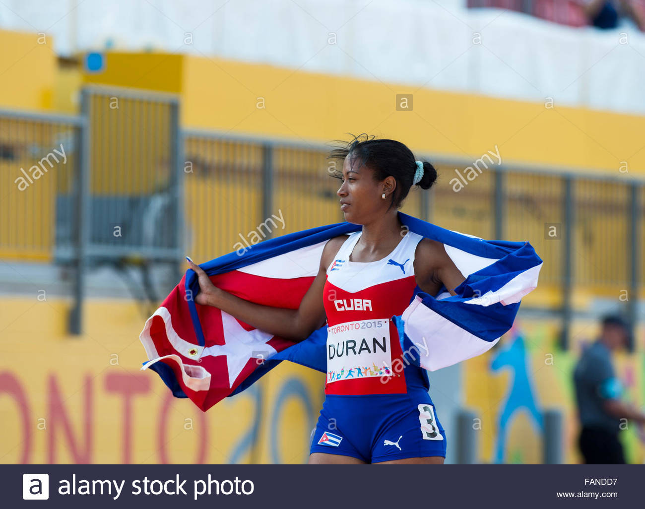 Omara Duran from Cuba wins two Gold Medals during day two of Parapan Am Games Athletics in Toronto. She wins in - Stock Image