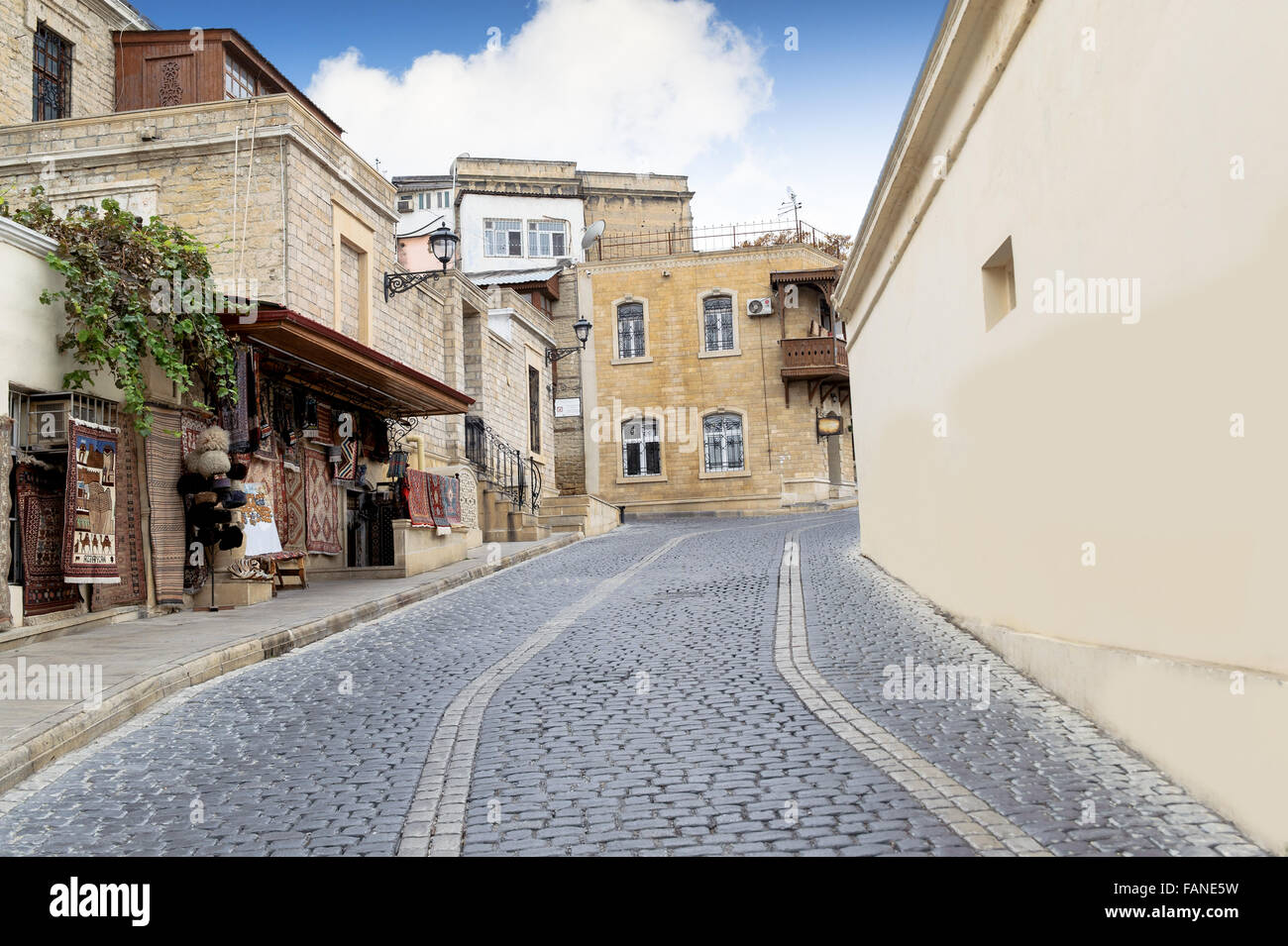 A Street view at old city in Baku, Azerbaijan. Inner City (Azerbaijani iceri sehir) is the historical core of Baku. - Stock Image