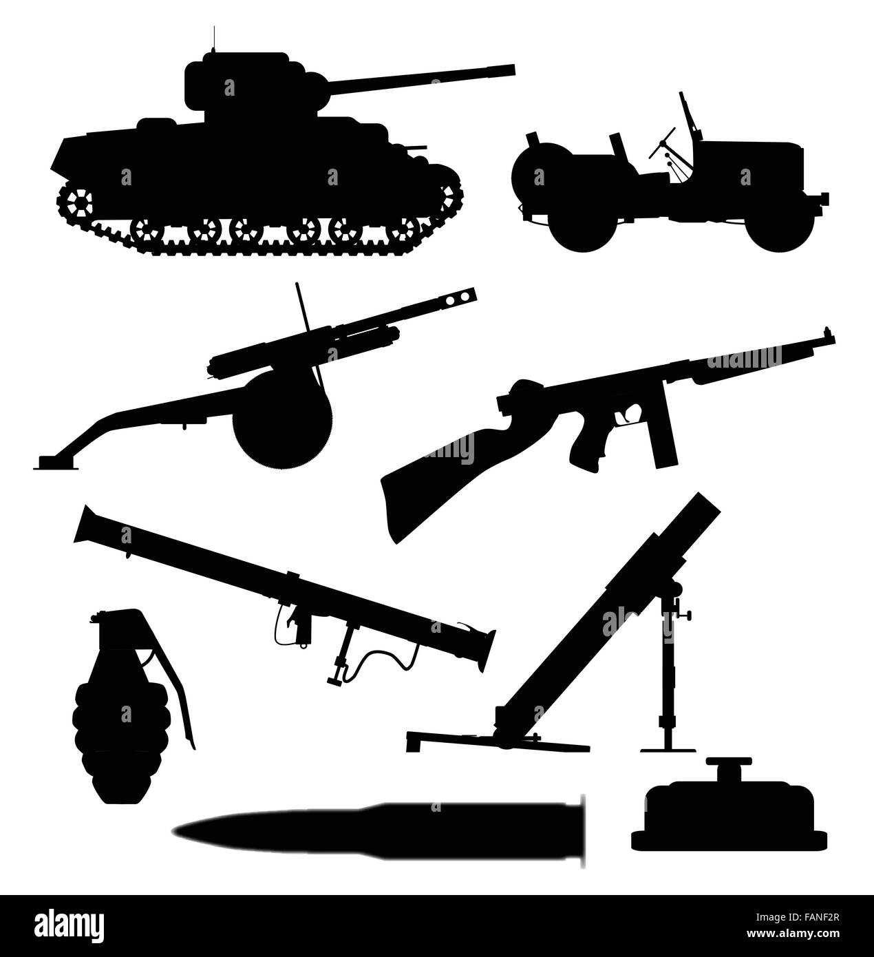 A collection of typical weapons of war in silhouette over a white background - Stock Vector
