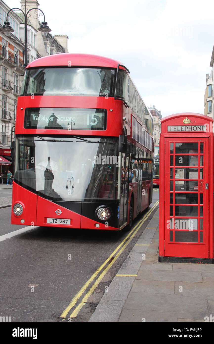 RED LONDON NEW ROUTEMASTER BOX WITH RED PHONEBOX - Stock Image