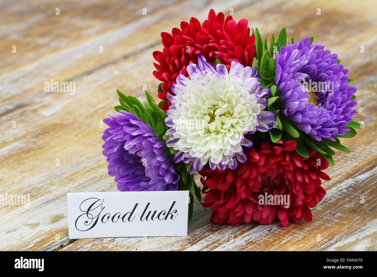 Good luck card with colorful aster flowers bouquet on rustic wooden good luck card with colorful aster flowers bouquet on rustic wooden surface izmirmasajfo