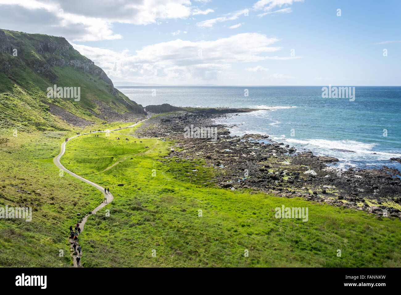 Trail leading to the Giant's Causeway on Ireland's North Coast. - Stock Image