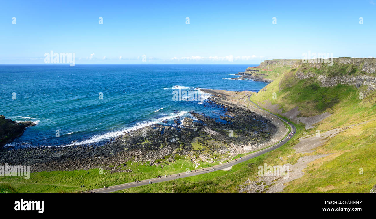 The trail that leads around to the iconic and world famous Giants Causeway on Ireland's North Coast. - Stock Image