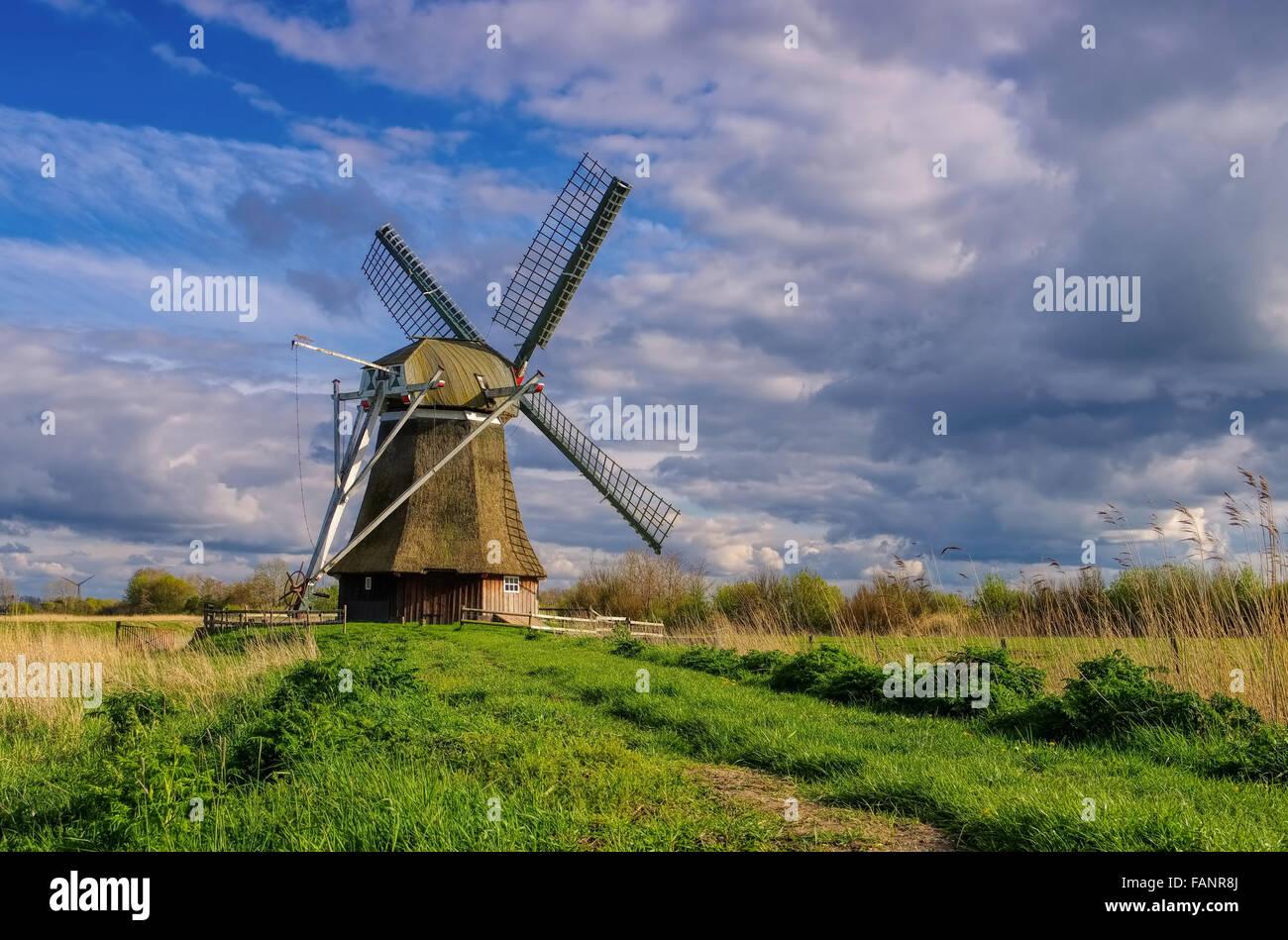 Wedelfelder Muehle - windmill Wedelfeld 03 - Stock Image