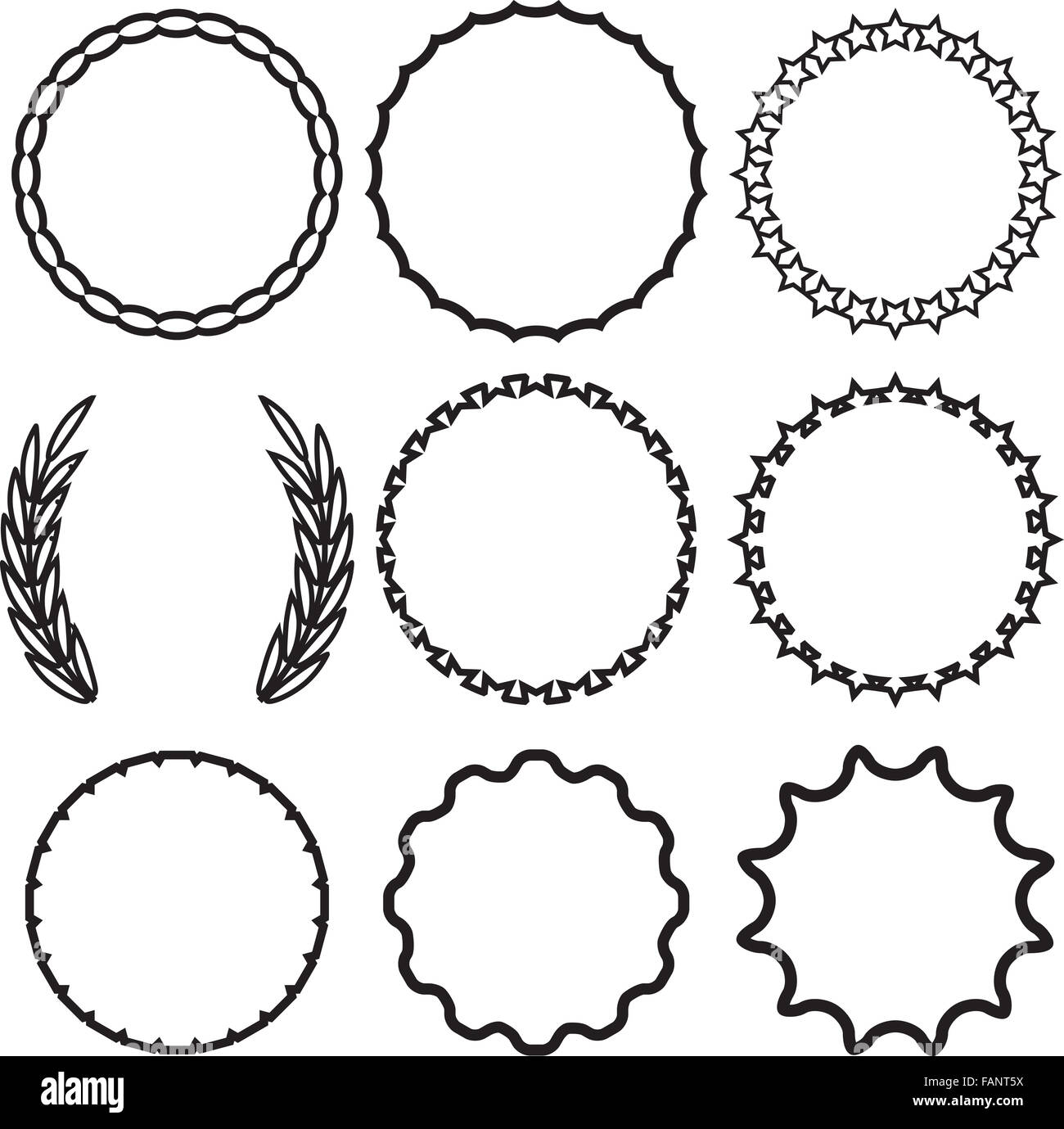 Frame round set decoration template vintage circle decorative stock frame round set decoration template vintage circle decorative border invitation decor emblem label wedding vector art abstr junglespirit Choice Image