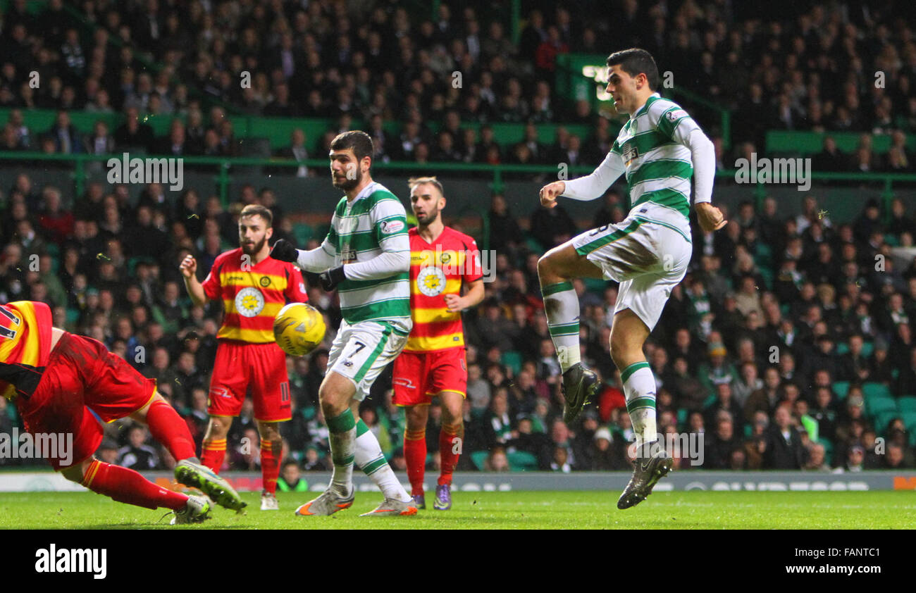 Celtic Park, Glasgow, Scotland. 2nd Jan, 2016. Scottish Premier League. Celtic versus Partick Thistle. Tom Rogic's - Stock Image