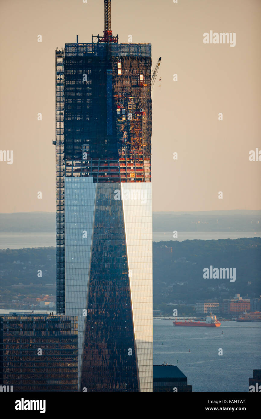One World Trade Center under construction (08-2012). The skyscraper is located in Lower Manhattan Financial District, - Stock Image