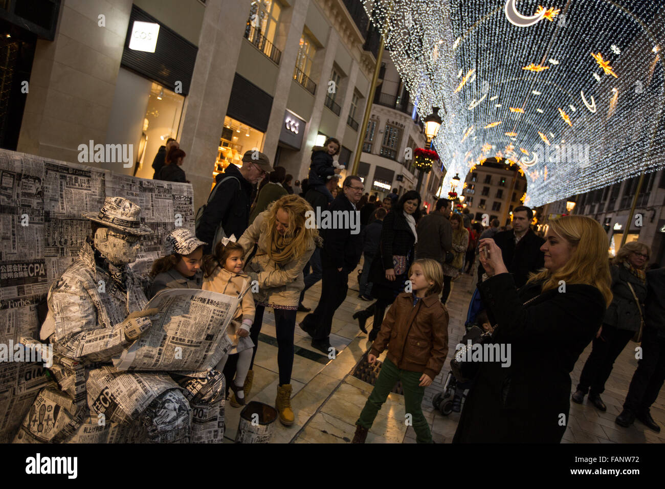 Christmas lights on the Calle Marques de Larios, near the Plaza de la Constitucion, in Malaga, Spain - Stock Image