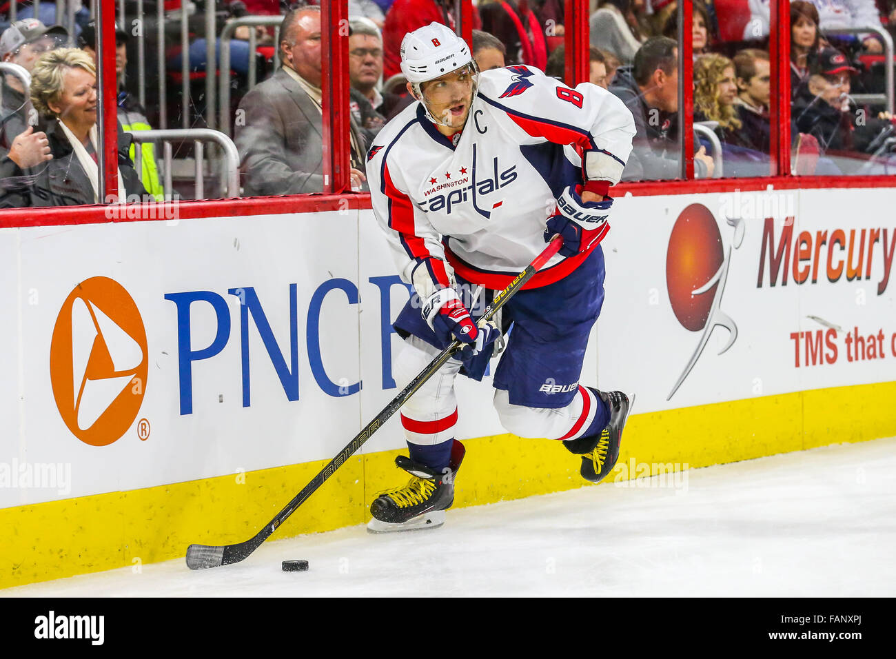 Washington Capitals left wing Alex Ovechkin (8) during the NHL game between  the Washington Capitals and the Carolina Hurricanes at the PNC Arena. 3d863e4af6b6