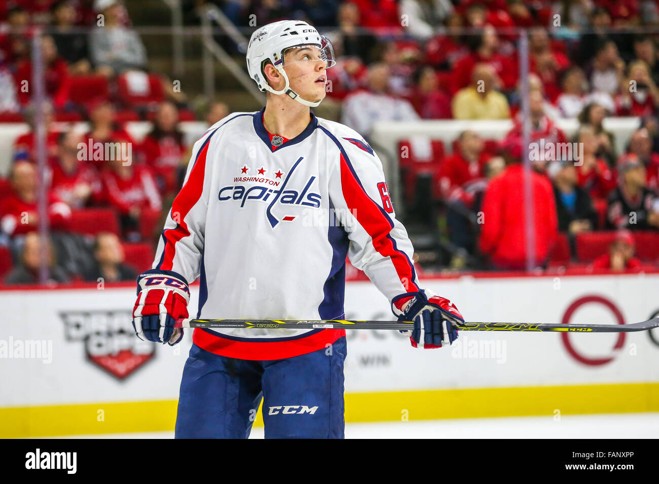 Washington Capitals left wing Andre Burakovsky (65) during the NHL game  between the Washington Capitals and the Carolina Hurricanes at the PNC  Arena. f097b384b53
