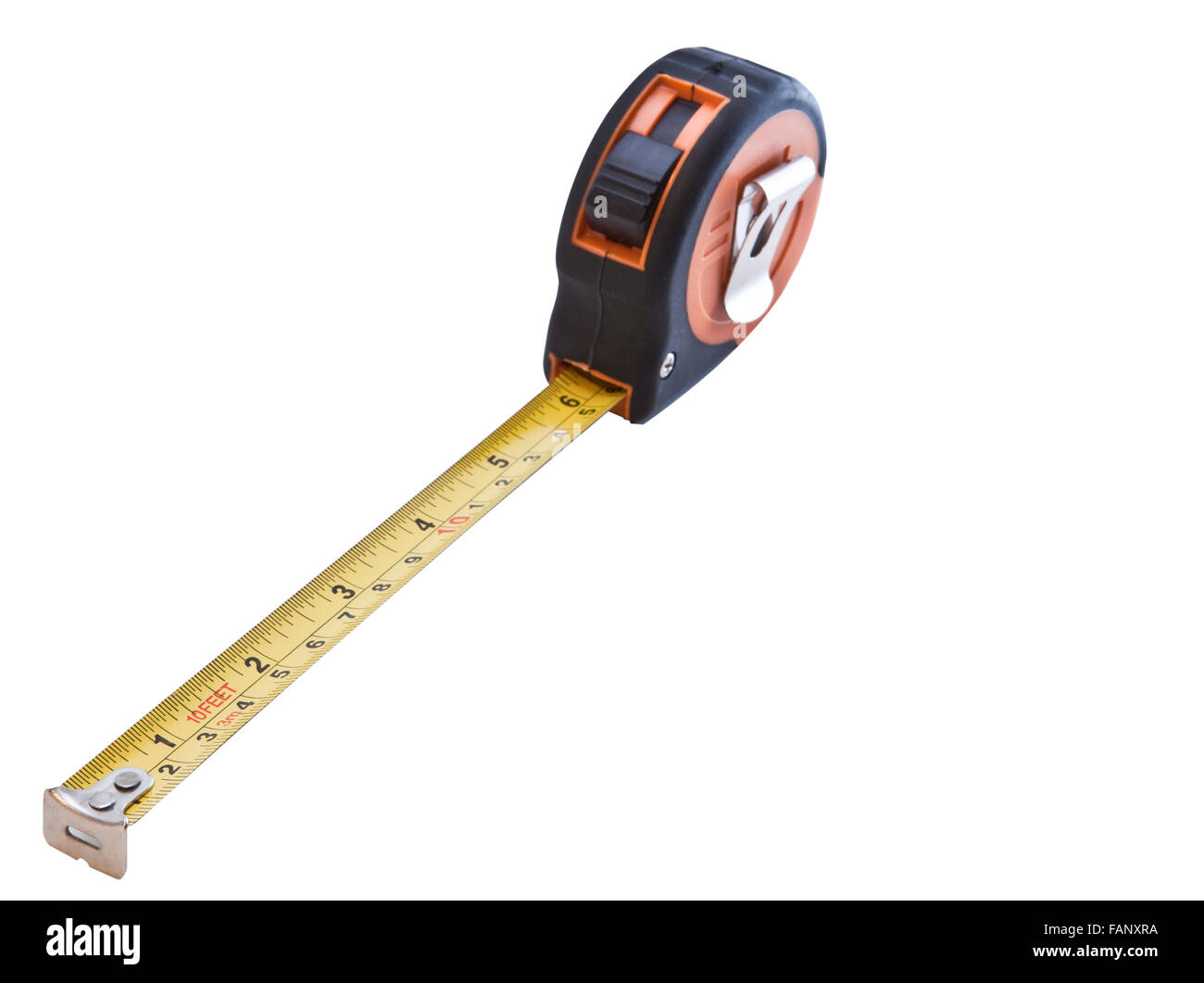 Orange and yellow retractable steel tape measure isolated on a white background - Stock Image