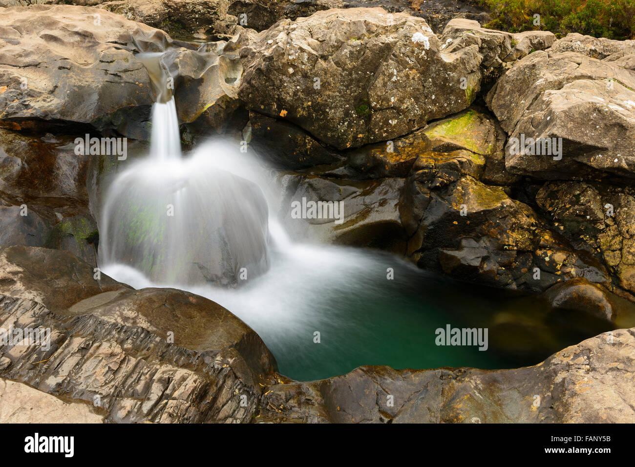 Small waterfall, Fairy Pools, Isle of Skye, Scotland - Stock Image