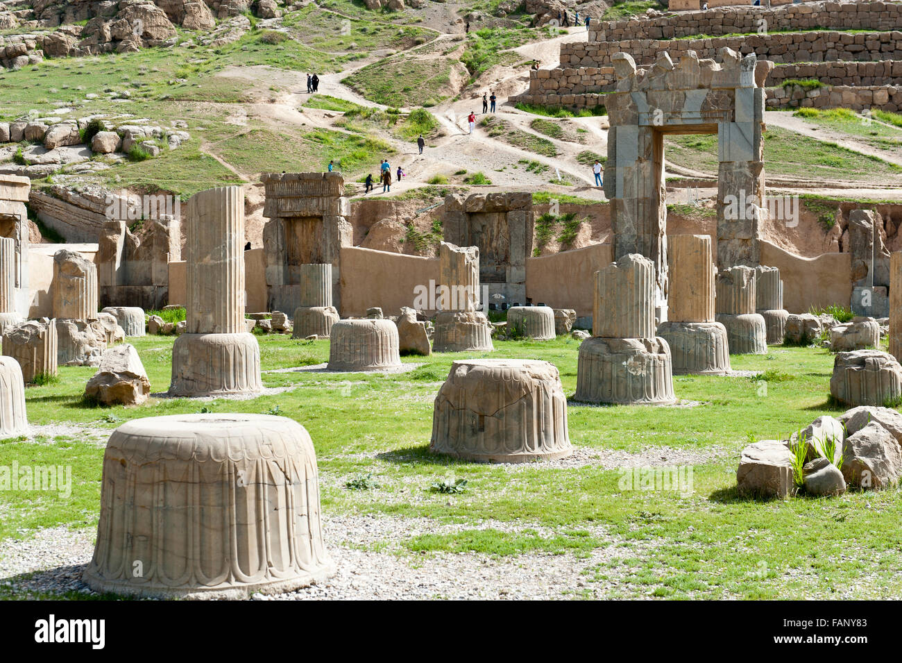 Ruins, bases of columns, Hundred Column Hall, ancient Persian city of Persepolis, UNESCO World Heritage Site, Fars - Stock Image