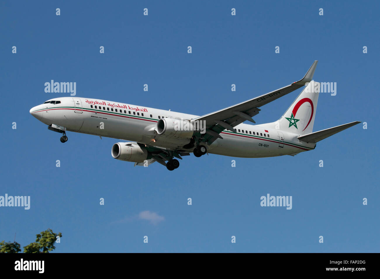Royal Air Maroc Boeing 737-800 on approach to London Heathrow - Stock Image