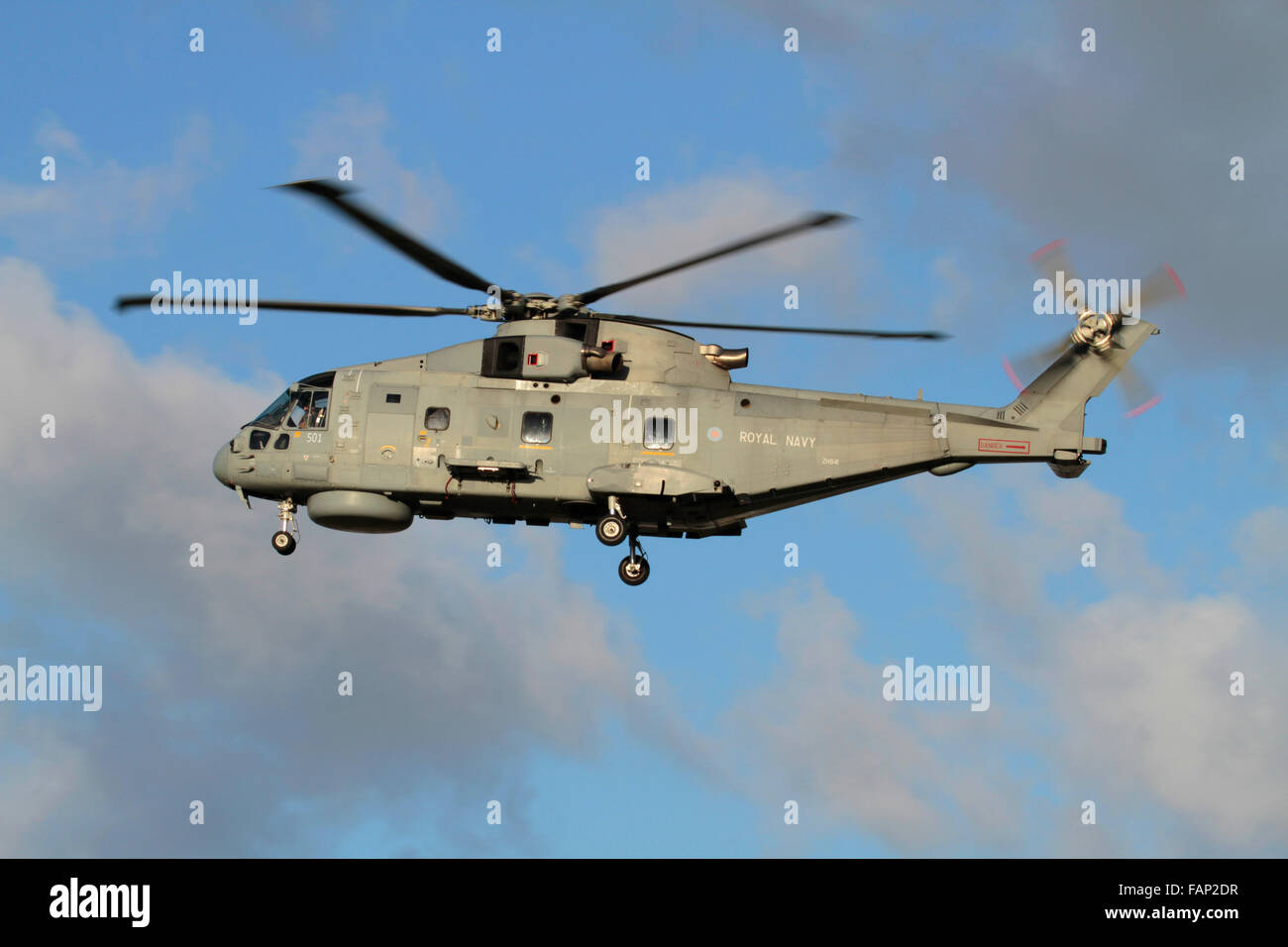 AgustaWestland Merlin HM2 helicopter of Britain's Royal Navy in flight with wheels down - Stock Image