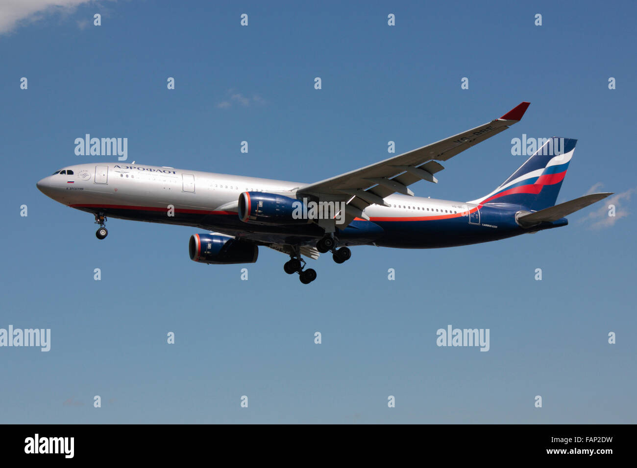 Aeroflot Airbus A330-200 commercial jet plane belonging to Russian national airline Aeroflot on approach - Stock Image