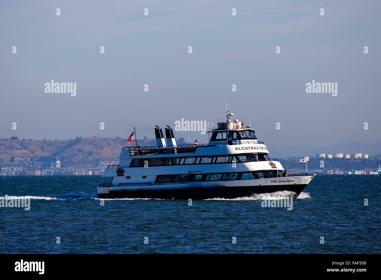 Alcatraz Cruises ferry in San Francisco, California - Stock Image