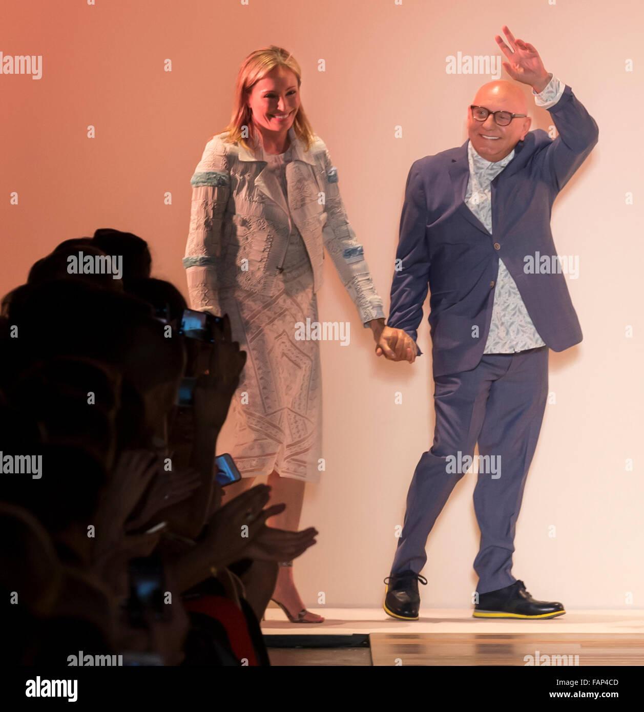 New York, NY - September 10, 2015: Designer Max and Lubov Azria walk the runway at the BCBG Max Azria show during - Stock Image