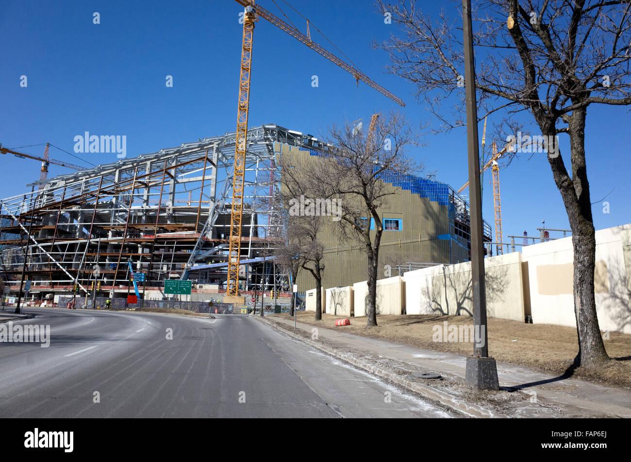 Construction of The NFL Minnesota Viking U.S. Bank Stadium March 2nd 2015. Minneapolis Minnesota MN USA - Stock Image