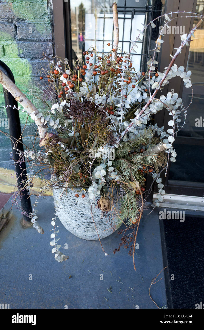 Beautiful outdoor spring bouquet of dried flowers berries and pine bows. St Paul Minnesota MN USA - Stock Image
