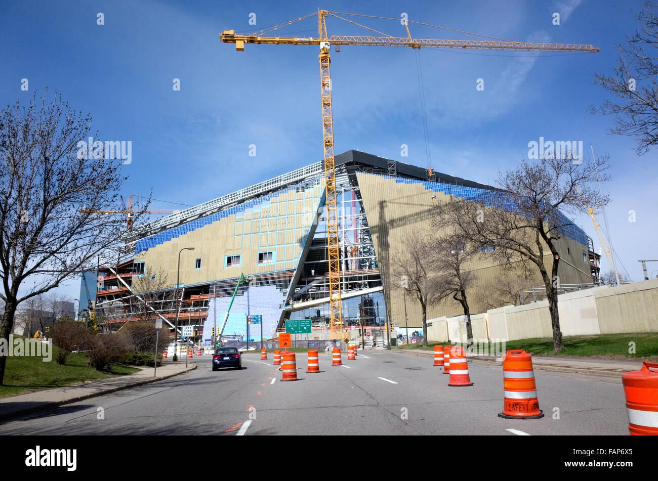 Construction of The NFL Minnesota Viking U.S. Bank Stadium April 15th 2015. Minneapolis Minnesota MN USA - Stock Image