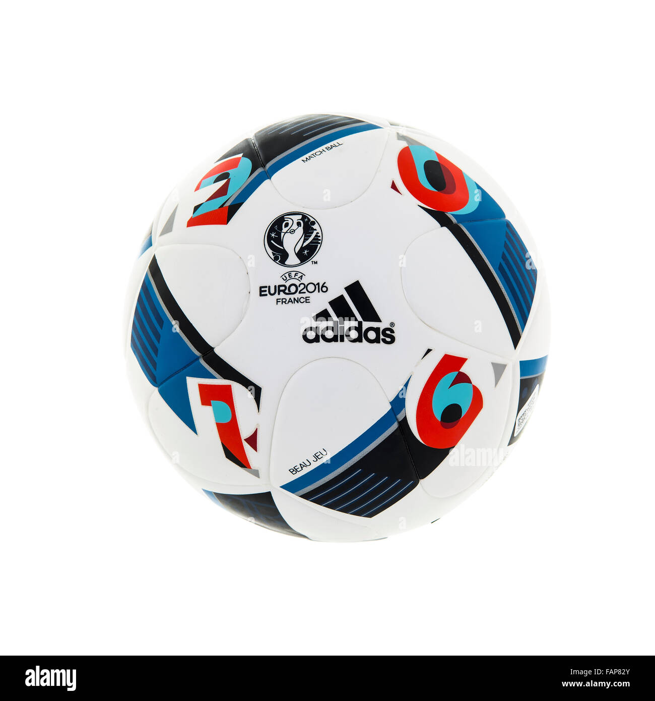 Adidas BEAU JEU official Match Ball for the UEFA EURO 2016 football tournament in France on a white background - Stock Image