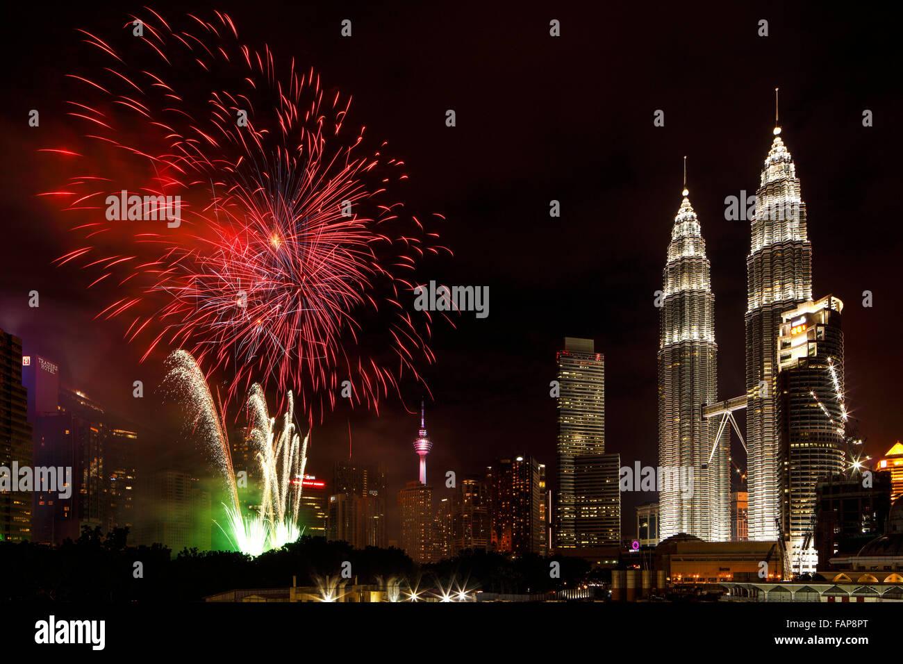 The 2016 New Year's Fireworks Celebration at KLCC, Malaysia. Stock Photo