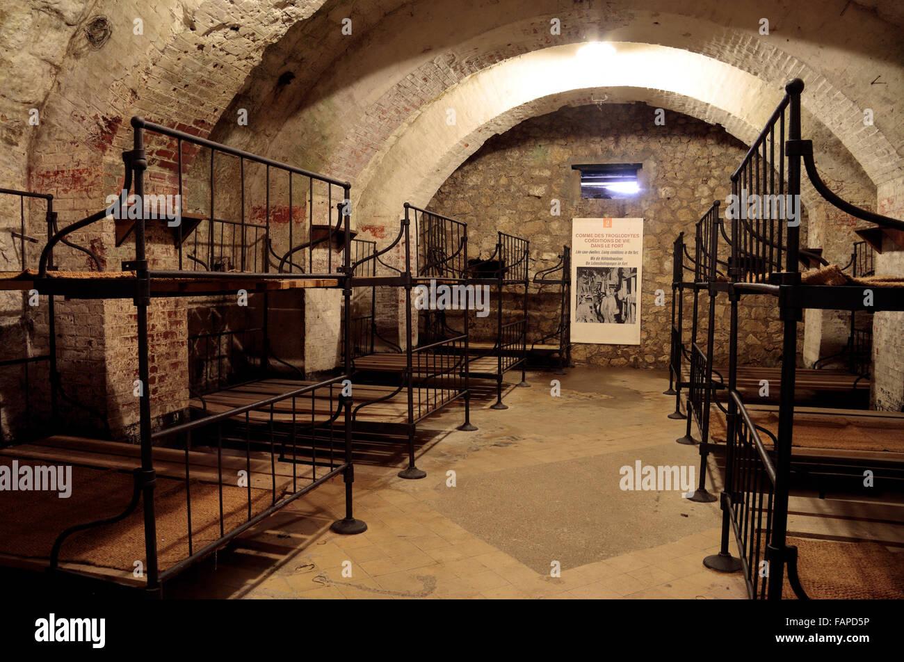 Soldier barrack room inside Fort de Vaux, Verdun, Lorraine, France. - Stock Image