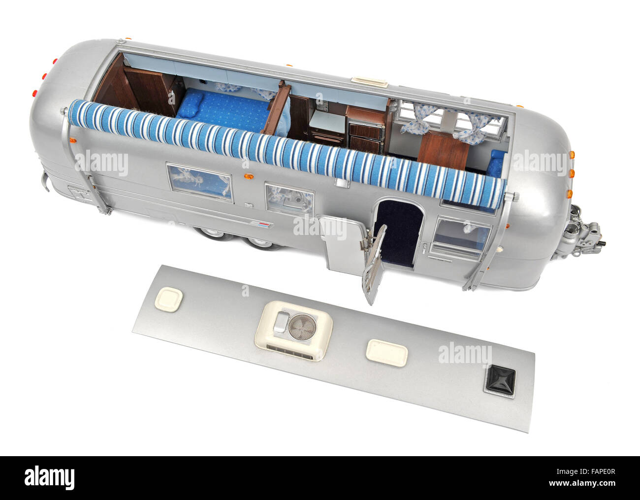 Children's Airstream Overlander touring caravan scale model toy - Stock Image