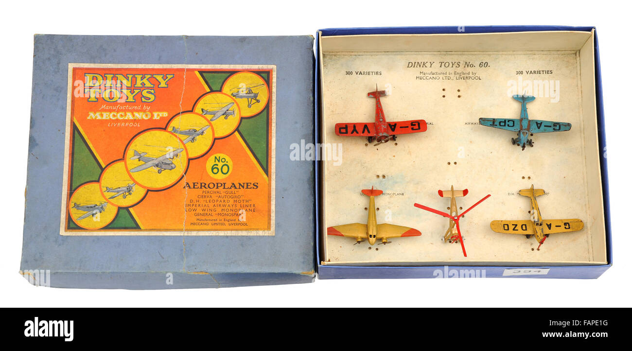 Children's Dinky Toys No.60 die cast metal Aeroplanes set made by Meccano - Stock Image
