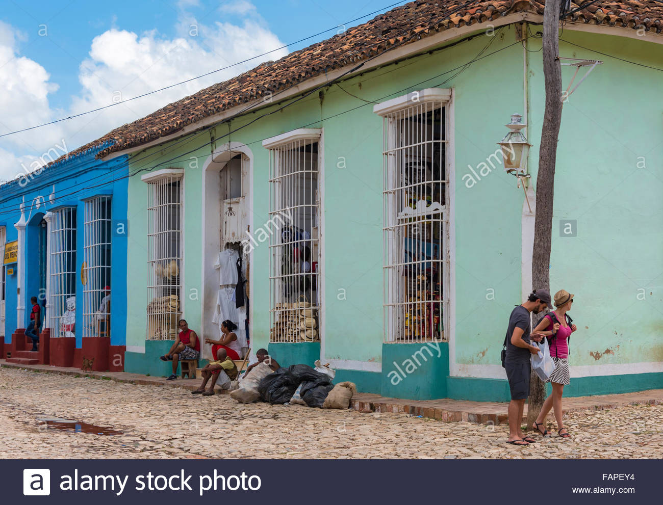 General view of the Hispanic colonial architecture and everyday scenes in Trinidad,Cuba. Trinidad is a Unesco World - Stock Image
