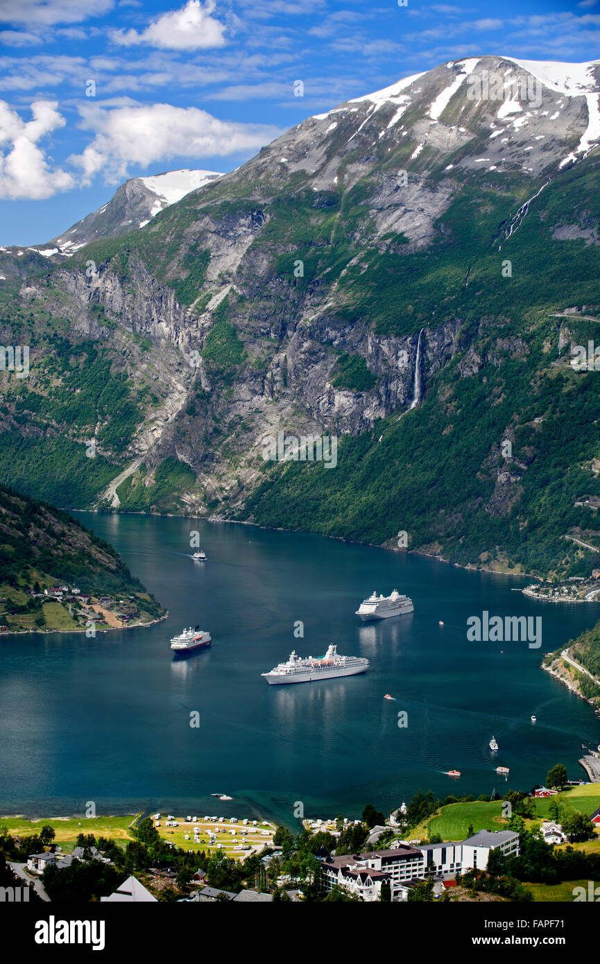 Three cruise ships in the Geirangerfjord, Geiranger, Norway - Stock Image