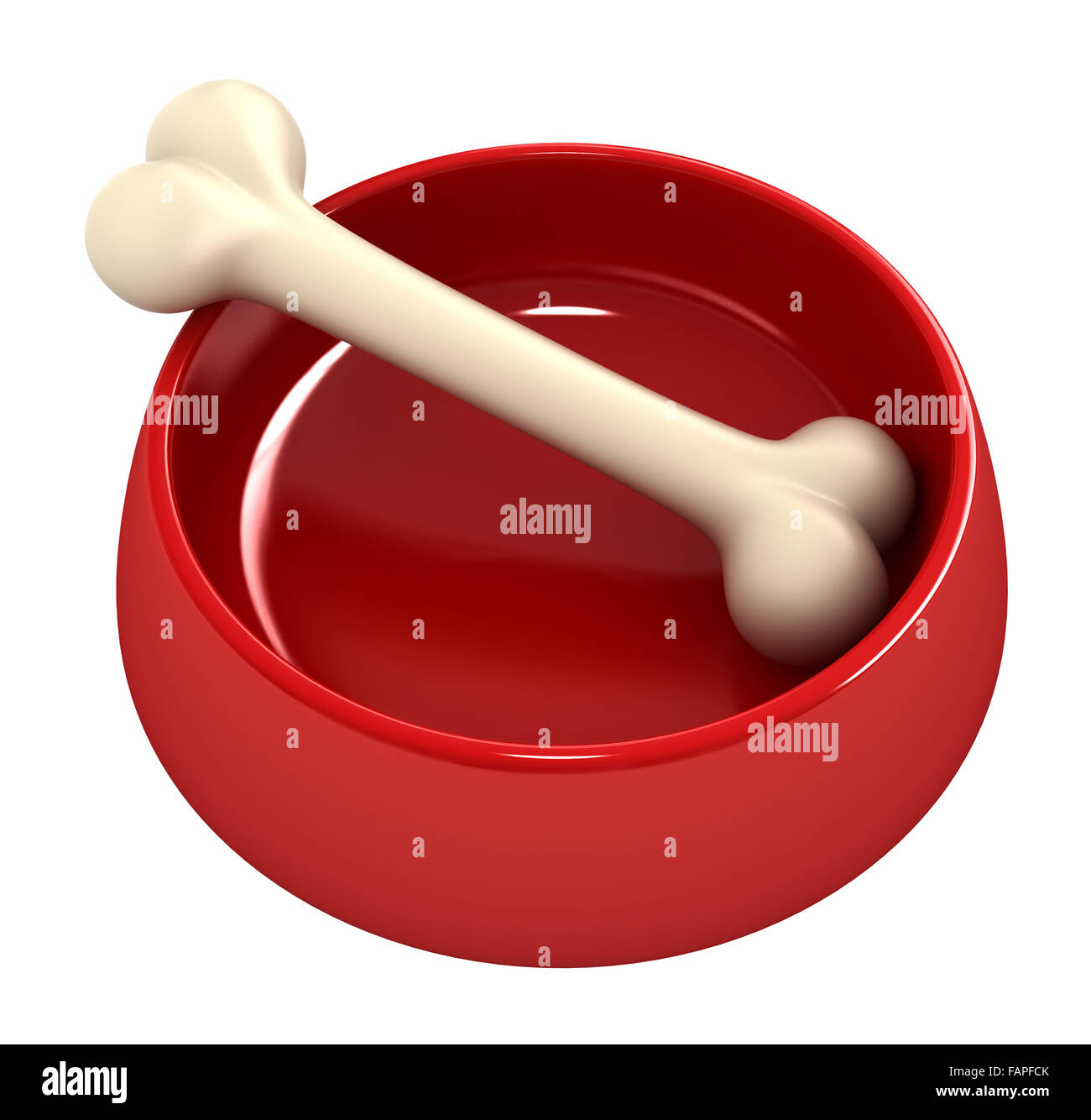 3d render of Bone in pet bowl isolated over white - Stock Image