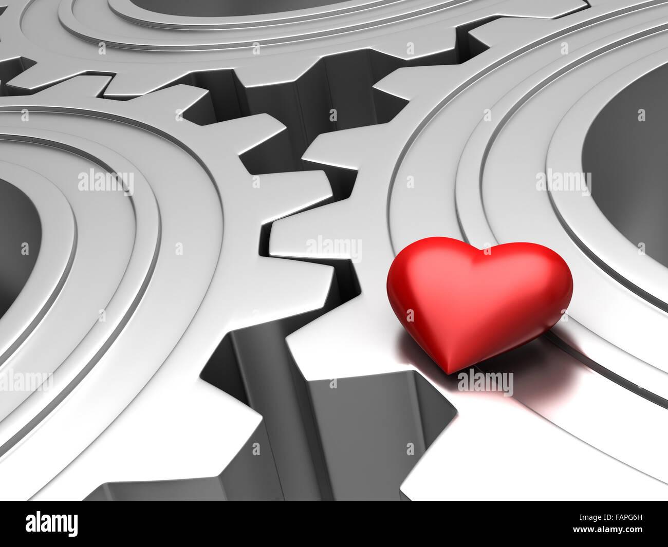 3d render of red heart over metallic gears - Stock Image