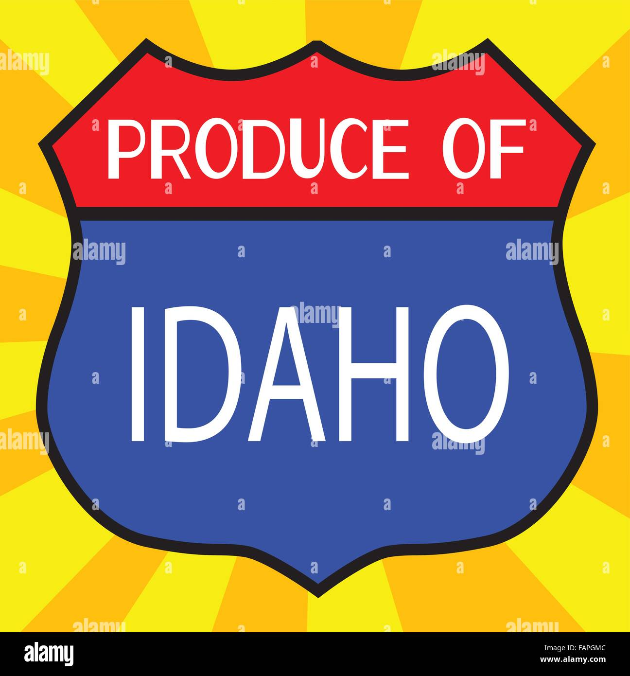 Route 66 style traffic sign with the legend Produce Of Idaho - Stock Vector