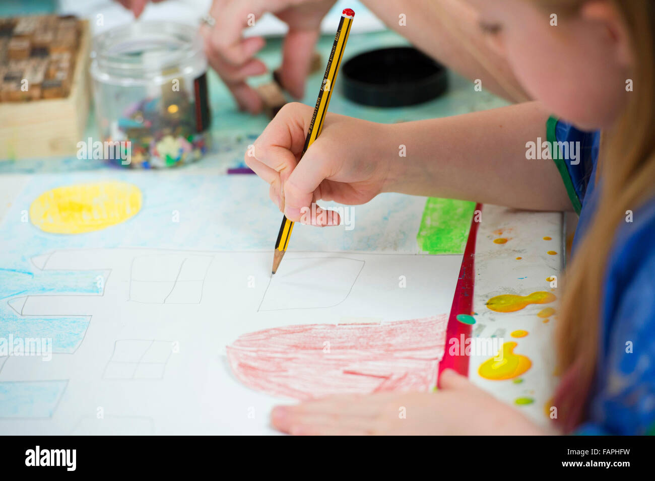 Children Learning Creative Skills While Doing Art And Craft Stock