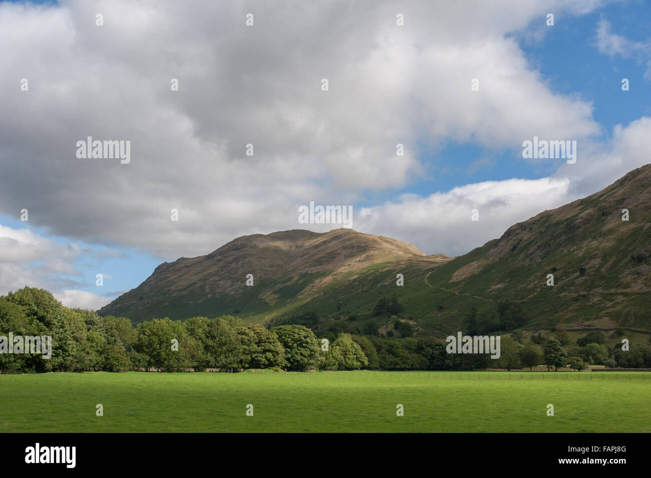 Place Fell and Boardale Hause from near Deepdale Bridge Stock Photo