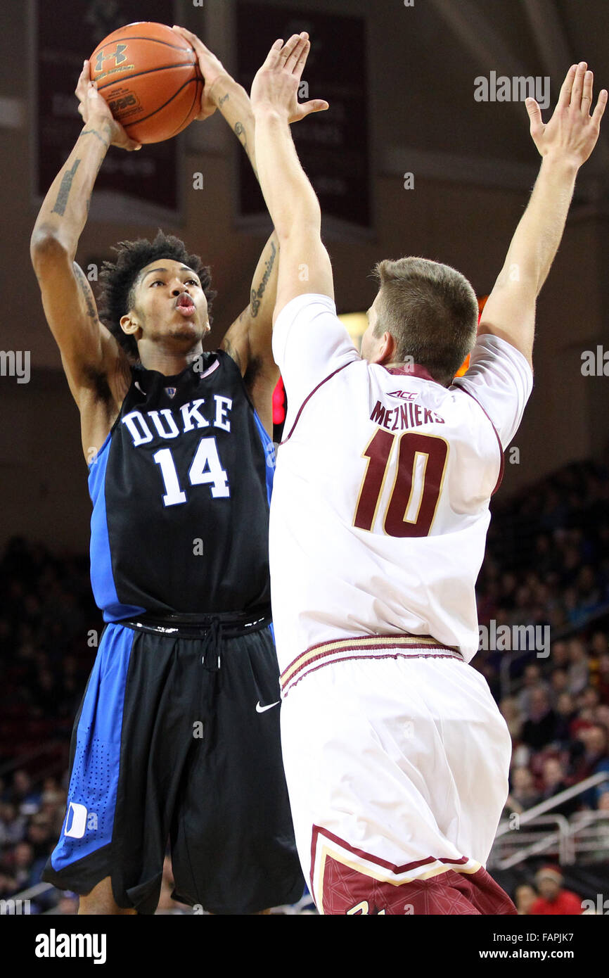 e2f236b6ad2 MA, USA; Duke Blue Devils guard Brandon Ingram (14) shoots over Boston  College Eagles forward Ervins Meznieks (10) during the first half of an NCAA  ...