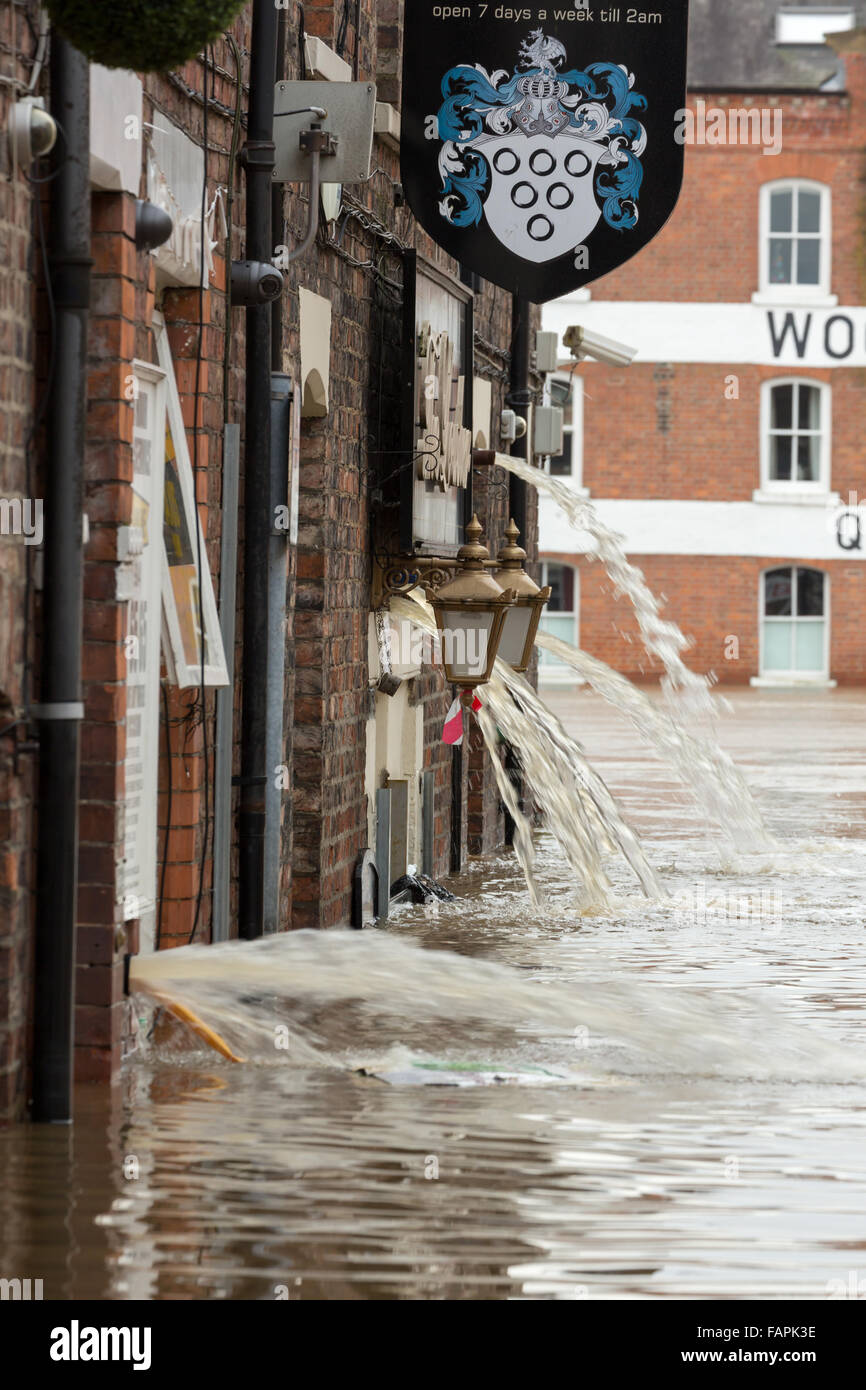 York floods after the River Ouse and Foss flooded in December 2015 Stock Photo