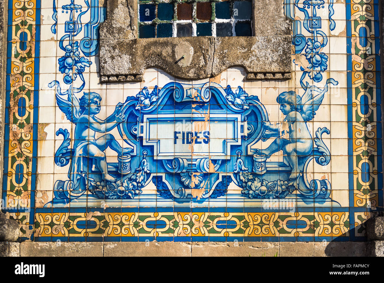 Decoration with blue and white azulejos, tiles, on the facade of Santo Ildefonso Church, Porto - Stock Image