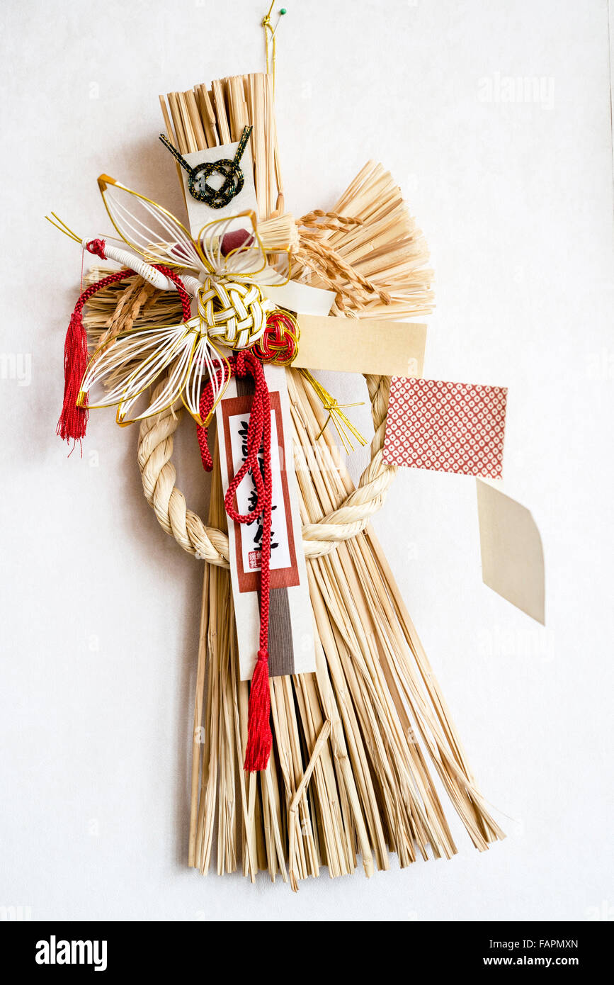 Traditional Japanese New Year Decoration called Shimakezari - Stock Image