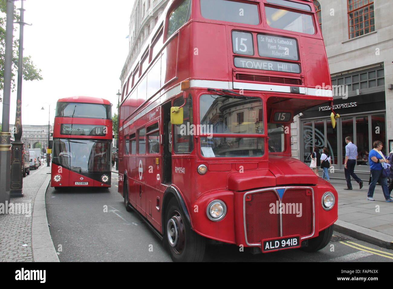 Old and new London Routemaster buses together - Stock Image