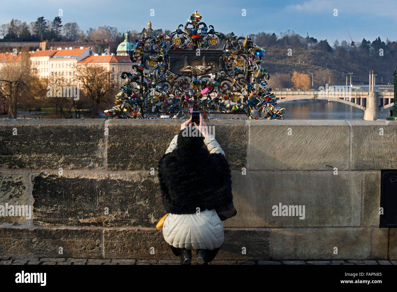 Padlocks on the Charles Bridge . Charles Bridge will never cease to fascinate painters, photographers and poets - Stock Image